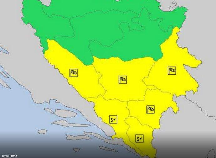 Žuto upozorenje zbog vremena upaljeno u BiH
