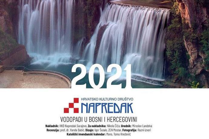 Napretkov zidni kalendar za 2021. s motivima vodopada u BiH